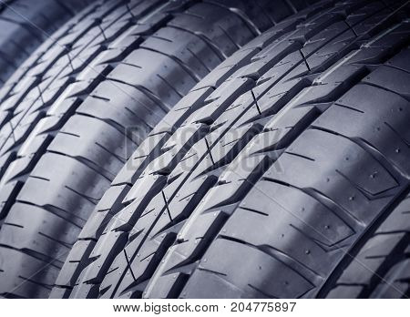 New Car tires closeup, Tire background and textured