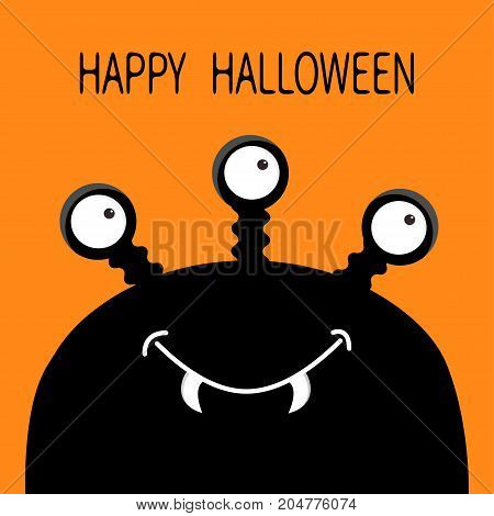 Happy Halloween card. Monster head silhouette with three eyes fang tooth. Black color. Funny Cute cartoon character. Baby collection. Isolated. Flat design. Orange background. Vector illustration
