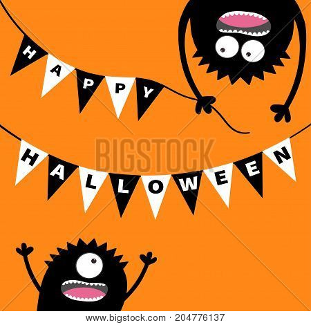Two screaming monster head silhouette. Bunting flags pack Happy Halloween letters. Flag garland. Hanging upside down. Black Funny Cute cartoon baby character. Flat design. Orange background. Vector