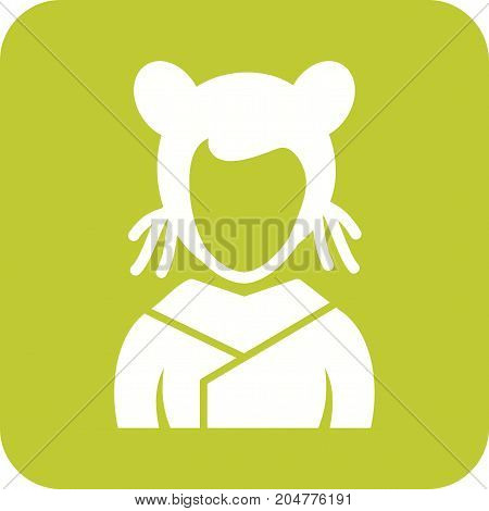 Girl, asian, beautiful icon vector image. Can also be used for Avatars. Suitable for use on web apps, mobile apps and print media.