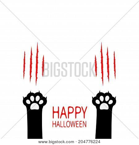 Happy Halloween. Black cat scratching paw print leg foot set. Bloody claws animal scratch scrape track. Cute cartoon character body part silhouette. Baby pet collection. Flat White background. Vector