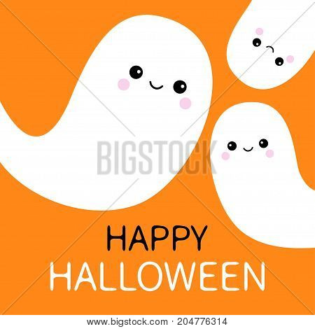 Three flying ghost spirit set. Happy Halloween. Scary white ghosts family. Cute cartoon spooky character. Smiling face. Orange background. Greeting card Isolated. Flat design. Vector illustration