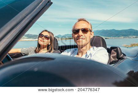 Couple in love have romantic auto travel