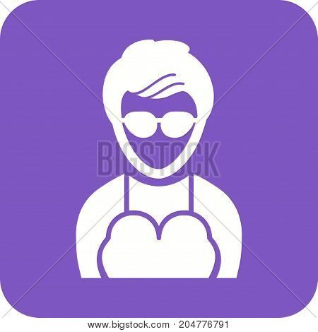 Glasses, girl, fun icon vector image. Can also be used for Avatars. Suitable for use on web apps, mobile apps and print media.