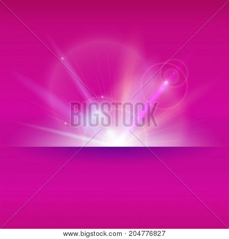Blurred light rays and lens flare backdrop with place for text. Abstract space sunny background, glow light effect. Dynamic star burst with sparkles backdrop. Vector poster, 3D illustration.