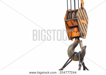 Isolated hook of a crane. Building. Lift up.