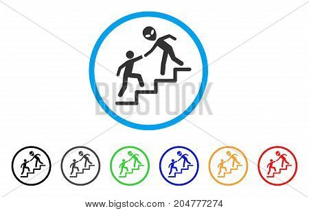 Alien Training Help rounded icon. Style is a flat alien training help grey symbol inside light blue circle with black, gray, green, blue, red, orange color versions.