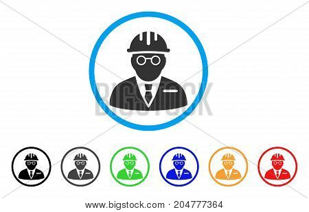 Blind Engineer rounded icon. Style is a flat blind engineer gray symbol inside light blue circle with black, gray, green, blue, red, orange versions. Vector designed for web and software interfaces.