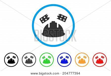 Brick Helmet Accident rounded icon. Style is a flat brick helmet accident grey symbol inside light blue circle with black, gray, green, blue, red, orange color versions.