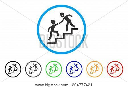 Builder Business Help rounded icon. Style is a flat Builder business help grey symbol inside light blue circle with black, gray, green, blue, red, orange versions.