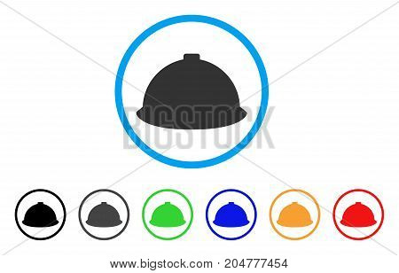 Builder Helmet rounded icon. Style is a flat builder helmet gray symbol inside light blue circle with black, gray, green, blue, red, orange versions. Vector designed for web and software interfaces.