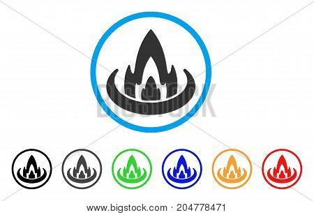 Fire Location rounded icon. Style is a flat fire location gray symbol inside light blue circle with black, gray, green, blue, red, orange versions. Vector designed for web and software interfaces.