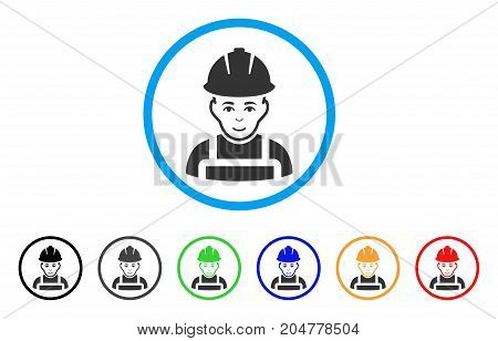 Glad Worker rounded icon. Style is a flat glad worker gray symbol inside light blue circle with black, gray, green, blue, red, orange variants. Vector designed for web and software interfaces.