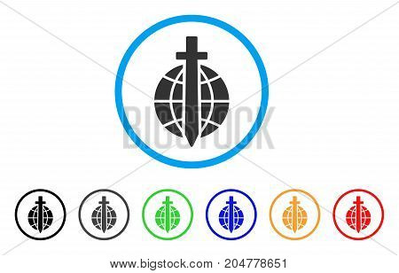 Global Guard rounded icon. Style is a flat global guard grey symbol inside light blue circle with black, gray, green, blue, red, orange color versions. Vector designed for web and software interfaces.