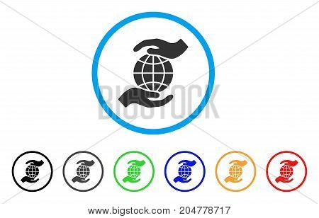 Global Insurance rounded icon. Style is a flat global insurance grey symbol inside light blue circle with black, gray, green, blue, red, orange variants.