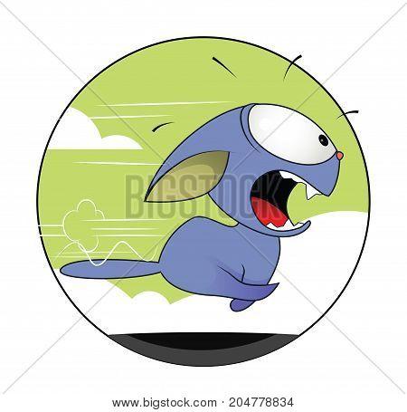 Fun cartoon cat running away in panic. Vector, easy to edit