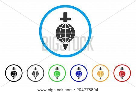 Global Safety rounded icon. Style is a flat global safety gray symbol inside light blue circle with black, gray, green, blue, red, orange variants. Vector designed for web and software interfaces.
