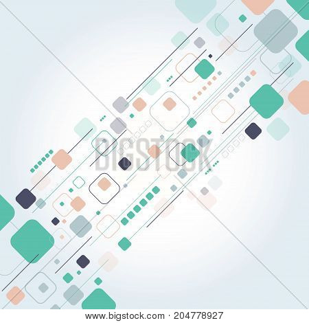 Abstract technology square rounded with lines colorful background for business Vector illustration