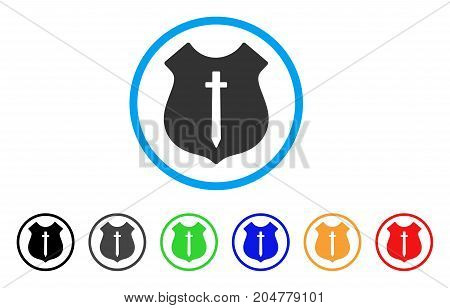 Guard Shield rounded icon. Style is a flat guard shield gray symbol inside light blue circle with black, gray, green, blue, red, orange versions. Vector designed for web and software interfaces.
