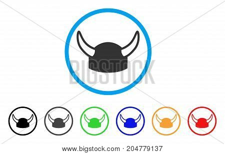 Horned Helmet rounded icon. Style is a flat horned helmet grey symbol inside light blue circle with black, gray, green, blue, red, orange variants. Vector designed for web and software interfaces.