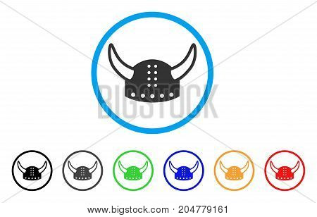 Horned Helmet rounded icon. Style is a flat horned helmet grey symbol inside light blue circle with black, gray, green, blue, red, orange versions. Vector designed for web and software interfaces.