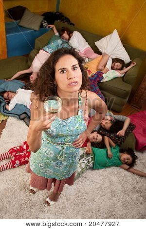 Woman With Wine And Girls At Sleepover