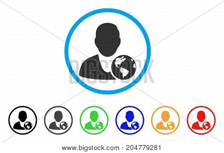International Manager rounded icon. Style is a flat international manager gray symbol inside light blue circle with black, gray, green, blue, red, orange variants.