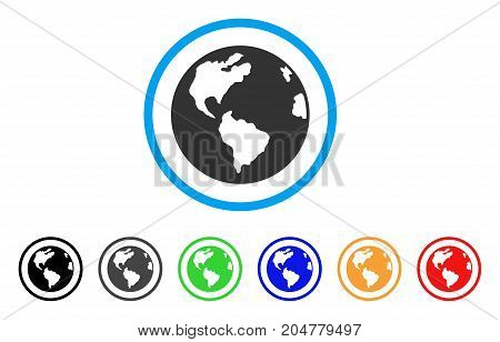 Planet Earth rounded icon. Style is a flat Planet earth grey symbol inside light blue circle with black, gray, green, blue, red, orange variants. Vector designed for web and software interfaces.