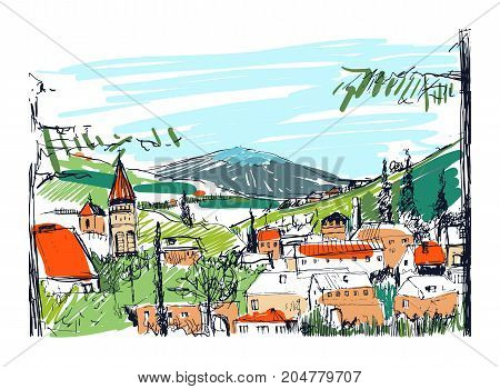 Rough colorful sketch of small ancient Georgian town, buildings and trees against high mountains on background. Freehand drawing of landscape with settlement located on hillside. Vector illustration