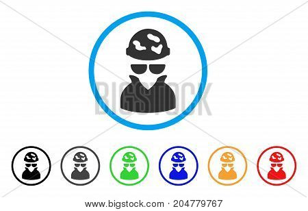 Spotted Spy rounded icon. Style is a flat spotted spy grey symbol inside light blue circle with black, gray, green, blue, red, orange color versions. Vector designed for web and software interfaces.
