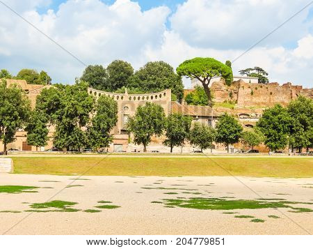 Panorama of the Roman Forum. Ruins of times of the Roman Empire. Rome, Italy