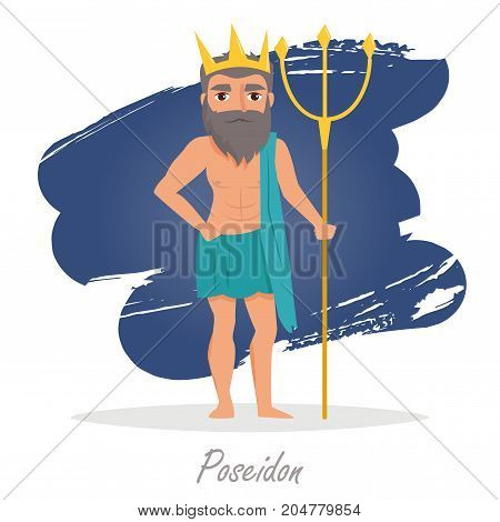 Poseidon. Greek gods. Vector illustration. Cartoon character Isolated Flat Mythology
