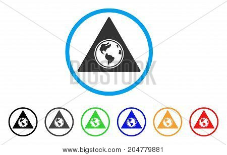 Terra Triangle rounded icon. Style is a flat terra triangle grey symbol inside light blue circle with black, gray, green, blue, red, orange versions. Vector designed for web and software interfaces.