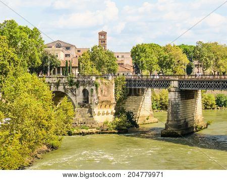 Rome Cityscape. Tiber River, Rome, Italy