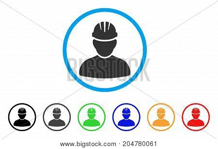 Worker Person rounded icon. Style is a flat worker person gray symbol inside light blue circle with black, gray, green, blue, red, orange color versions.