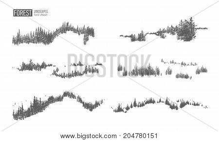 Collection of evergreen forest landscapes with silhouettes of coniferous trees growing on hills hand drawn in black and white colors. Natural monochrome decorative elements. Vector illustration.