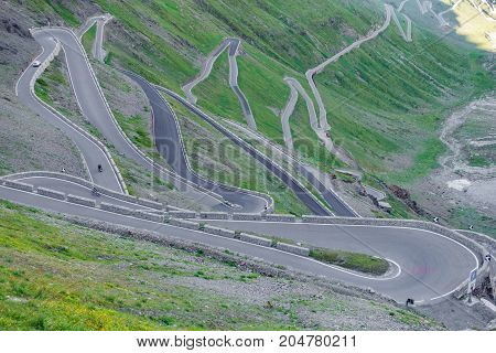 Top view of serpentine road of Stelvio Pass from above. Prato side, zigzag
