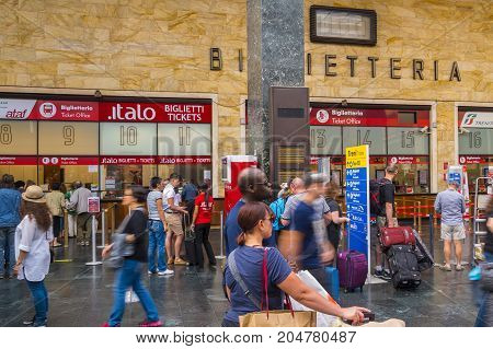 The ticket sales area at Florence Central Station SMN - FLORENCE TUSCANY ITALY - SEPTEMBER 13, 2017