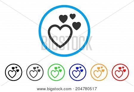 Love Hearts rounded icon. Style is a flat love hearts gray symbol inside light blue circle with black, gray, green, blue, red, orange color versions. Vector designed for web and software interfaces.