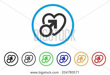Male Love rounded icon. Style is a flat male love grey symbol inside light blue circle with black, gray, green, blue, red, orange versions. Vector designed for web and software interfaces.