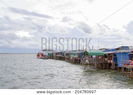 Fishing village planted house on the sea
