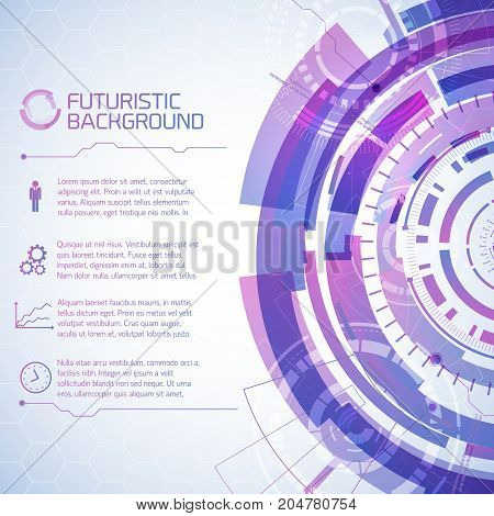 Virtual technology background with composition of futuristic round user touchscreen elements and text paragraphs with icons vector illustration