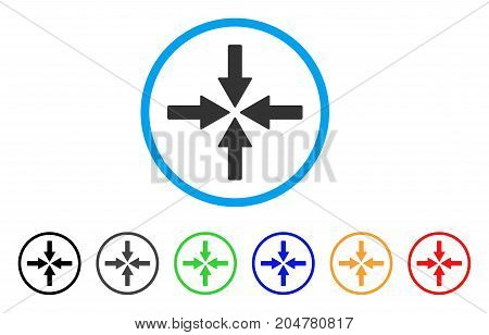 Collide Arrows rounded icon. Style is a flat collide arrows grey symbol inside light blue circle with black, gray, green, blue, red, orange variants. Vector designed for web and software interfaces.