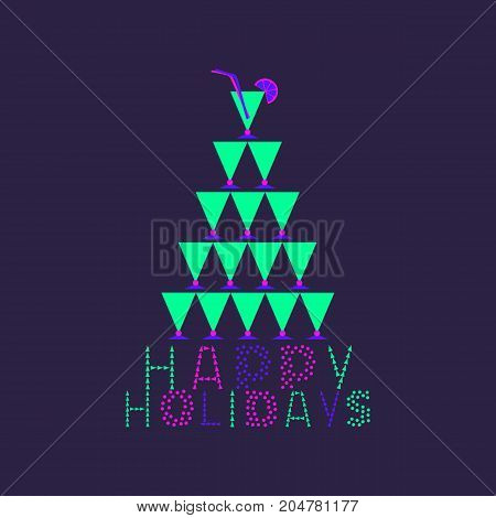 Happy Holidays cute fancy letters hand drawn text. Invitation card colorful neon headline. Cocktail glasses Christmas tree.