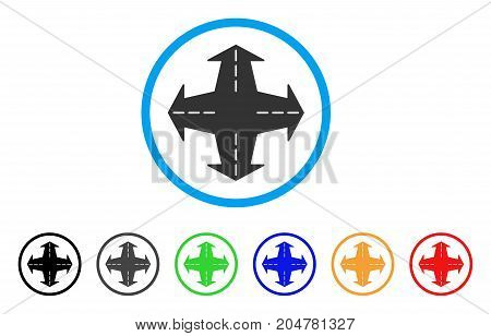 Intersection Directions rounded icon. Style is a flat intersection directions grey symbol inside light blue circle with black, gray, green, blue, red, orange versions.