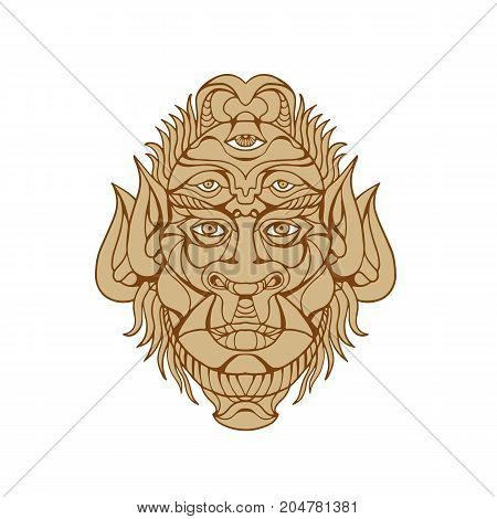 Drawing style illustration of a Five-eyed mythological Monster Head viewed from front