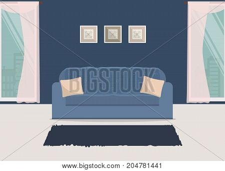Living room in a blue color. There is a sofa with pillows on a window background in the picture. Vector flat illustration.