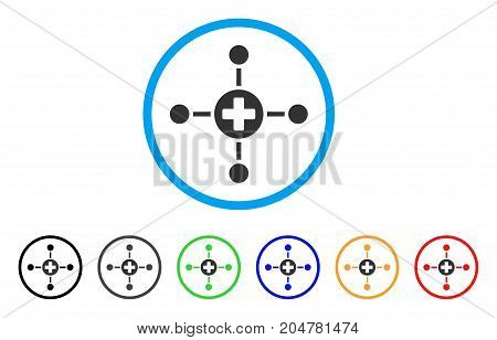 Medical Center rounded icon. Style is a flat medical center grey symbol inside light blue circle with black, gray, green, blue, red, orange color versions.