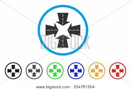 Merge Directions rounded icon. Style is a flat merge directions gray symbol inside light blue circle with black, gray, green, blue, red, orange variants.