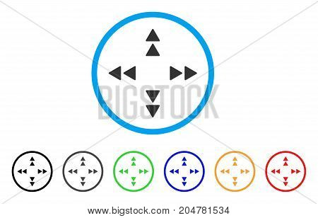 Move Out rounded icon. Style is a flat move out grey symbol inside light blue circle with black, gray, green, blue, red, orange versions. Vector designed for web and software interfaces.